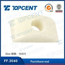 [FF.3540] White brown Plastic joint connector nut furniture screw nuts