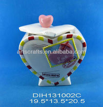 Valentine's Day ceramic heart shaped candy jar