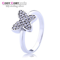 Wholesale silver jewelry party rings 925 sterling silver butterfly ring antique silver plated with pave white zircon for women