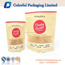 Customized resealable food foil bottom gusset dog treat bag