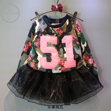 Wholesale baby girls clothes 2 pcs letter and floral printed long sleeve top+black tulle lace boutique skirt for girls 2-8 yrs
