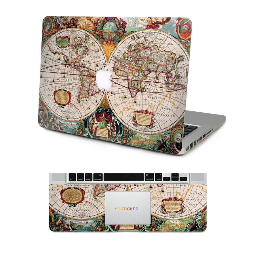 New design decorative skin laptop top and wrist pad world map decal mb tw2015 85g gumiabroncs Choice Image