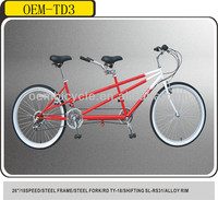 26 inch 18 speed steel frame tandem city bike with two seats