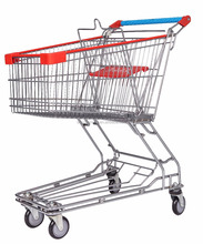 Metal hand wheeled rolling grocery supermarket cart