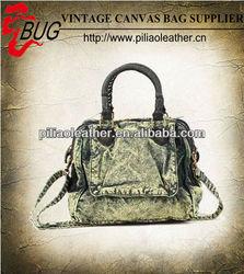 New designer garment dye cotton shoulder handbag for fashion girls Guangzhou bag manufacture wholesale