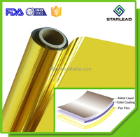 One-stop solution 12 mic gold metalized PET film, golden color MPET, color coated PET film roll