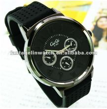 Black rubber band 3 eyes Wrist watch
