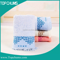 Cheap quality 35x75cm bamboo fiber terry face towel with tassel
