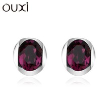 OUXI best design candy shaped stud earrings, sterling silver & crystal elements Y20029