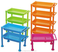 FUCHSIA, TURQUOISE, LIME GREEN, ORANGE 3 TIER PP PLASTIC KITCHEN ACCESSORIES RACK