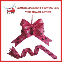 wholesale printed pull grosgrain ribbon bow for packing