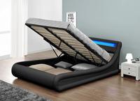 S-shaped Designer LED Double Size Soft PU Faux Leather Storage gas lift Bed WSB138-1