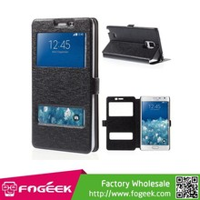 Fast delivery Silk Texture Leather Case w/ Dual View Window For Samsung Galaxy Note Edge N915A N915T