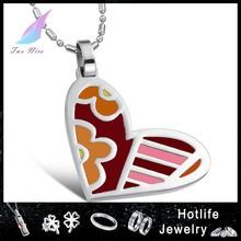 heart stainless steel jewelry fashion enamel pendant