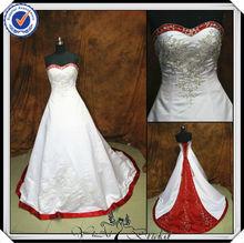 jj2917 bola vestido de novia bordado blanco y rojo vestido de novia