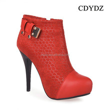 CDYDZ Y106 Red waterproof platform snake skin high heels leather buckle sexy hot ankle Boots for women