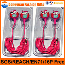 custom owl designs high quality cheap promotion MP3/MP4 earphone&headphone