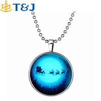 2015 Hot! Christmas Day women luminous drop pendent Necklaces Santa Claus and elk car deer glow in the dark pendant necklace/