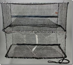 Collapsible folding portable PE net crab lobster trap