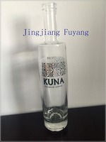 White 750ml clean clear vodka, wine glass bottle with designed printing