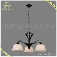 Wrought iron european style white fabric shade pendant hanging light fixtures 3 lights