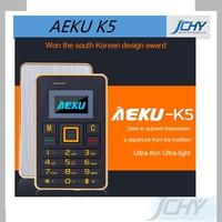Ultra Thin mini AEKU K5 Cell Phones Student Version Credit Card Mobile Phone FM Bluetooth PK AIEK M5 Card Phone