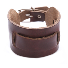 China Factory Wholesale Leather Bracelet Genuine Leather Wristband First Class Leather Cuff men's Bracelet Brown
