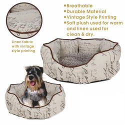 Linen fabric Material Pet bed with vintage style