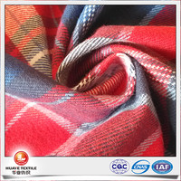 peach polyester cotton twill red plaid denim fabrics for shirt