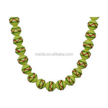 Easter hand painted glass beads,Green painted beads wholesale B015