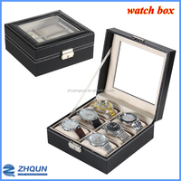 Countertop 6 slot PU special design watch box with key