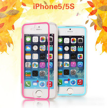 TPU+PC Connection Transparent Touch Screen Case all round Protector cover For Apple iPhone5 5s