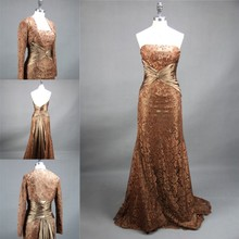 High Quality Evening Gown With Long Sleeve Jacket 2015 Real Samples Brown Aribic Evening Dresses Women Mother Of The Bride Dress