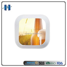 2016 Popular High Quality Melamine square small tray with Beer Design