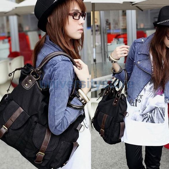 Korea Style Women Multi-pocket Canvas Cross Body Shoulder Bag Handbag