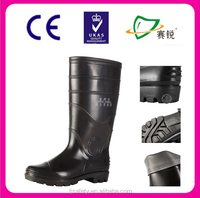 High quality protective work safety PVC rain boots with anti-slip sole
