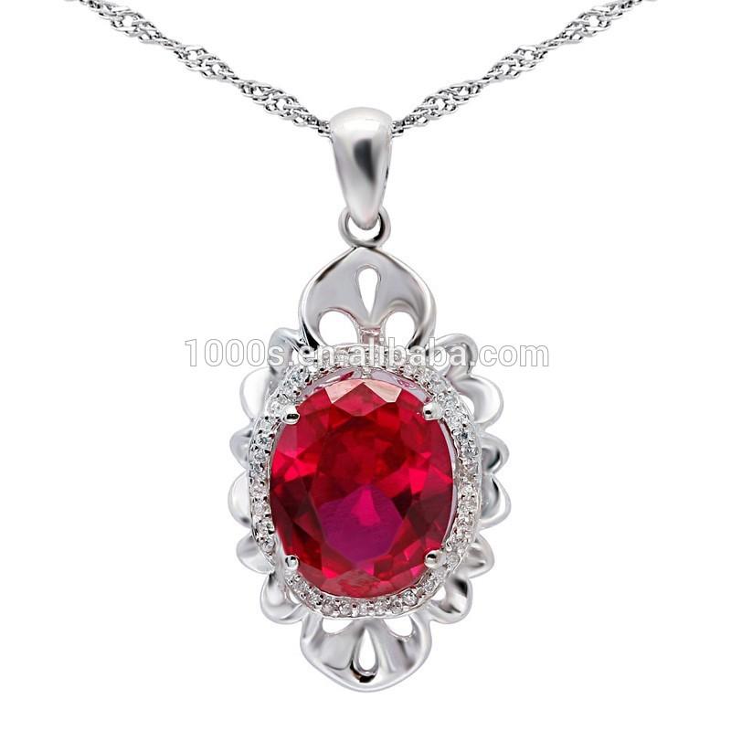 Luxo vermelho pedra preciosa pingente, 925 pingente de prata <span class=keywords><strong>para</strong></span> a <span class=keywords><strong>festa</strong></span>, aniversário
