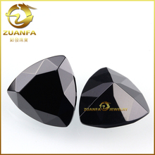 Wholesale fat triangle cubic zirconia loose black trillion cut gemstone