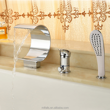Hot Sale deck mounted brass chrome waterfall mixers and taps with hand shower