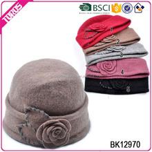 BSCI certification fashion style wool hat,felt hat wool women beige,lady hat wool winter