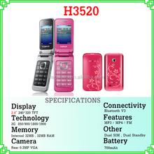 "new product good selling 2.4"" screen quad band dual sim flip telefono H3520"