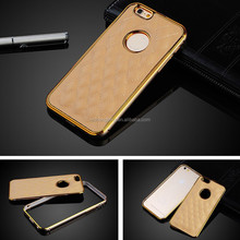 """Push-Pull Metal Bumper Gold Edge handmade mobile Phone Leather Case For iphone 6 4.7"""" 5.5"""" 5 5S"""