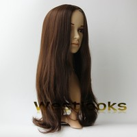 24 Inch Medium Brown Straight Hair 150% Full Density Kosher Mongolian Jewish Wigs Wholesaler