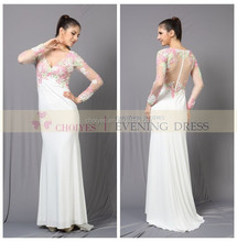 Long sleeve maxi long knitted fabric wedding and evening dress