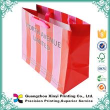 Fashion design promotional paper bags with stripes
