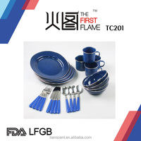 2015 factory 24pcs Enamel cookware Set with LFGB/FDA blue color