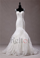 2015 Latest Design Top Quality China Factory Made French Lace Appliqued Mermaid Wedding Dresses
