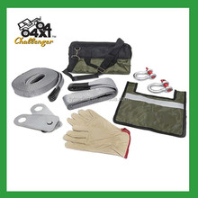 4x4/4wd/off road 8 pcs recovery kit(bow shackles, snatch block, gloves, straps, carry bag)