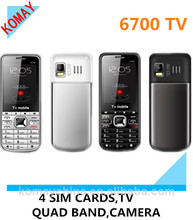 KOMAY Hot sale!2.2 inch four sim card dual T Cards 6700 mobile phone
