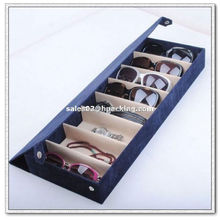 Sunshiny Storage Display Case Box for Eyeglass Sunglass Glasses 8 Compartment Dark Blue